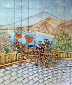 Carretto siciliano su pannello di mattonelle
